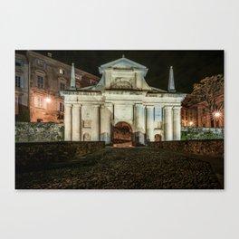 Front view of Porta San Giacomo in the upper city of Bergamo. Night cityscape. Canvas Print