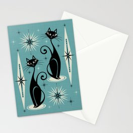 Mid Century Meow Retro Atomic Cats on Blue Stationery Cards