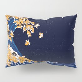 Shiba Inu The Great Wave in Night Pillow Sham