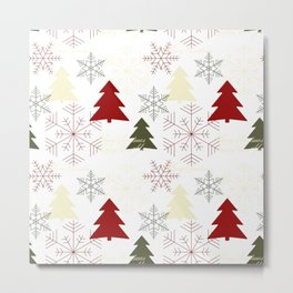 Christmas pattern with gift boxes and snowflakes. Metal Print