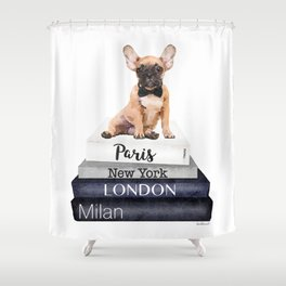 Frenchie, French bulldog, Fawn, Books, City's, Cities, travel, Fashion illustration,Amanda Greenwood Shower Curtain