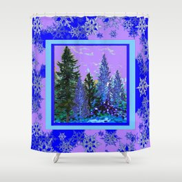BLUE-LILAC WINTER SNOWFLAKE CRYSTALS FOREST ART DESIGN Shower Curtain