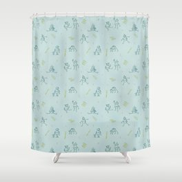 Robot Babies Captioned Shower Curtain