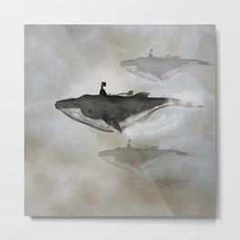 Awesome whale with women flying in the sky Metal Print