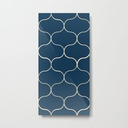 Ogee pattern classic blue Metal Print