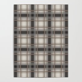 Brown Plaid with tan, cream and gray Poster