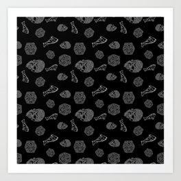 Game Night - repeating pattern nerdy d20 skull pizza Art Print