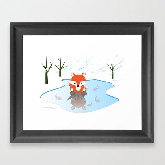 Little Fox On Ice Framed Art Print