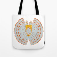jurassic park Tote Bags featuring Jurassic Park - Dilophosaurus by Peter Cassidy