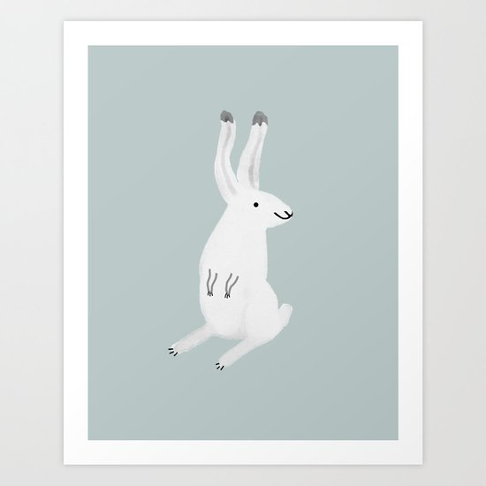 Happy Arctic Hare Art Print