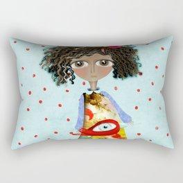 Red Bird Pet Doll Grungy Polka Dots Rectangular Pillow