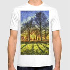 Greenwich Park London Sunset Art White MEDIUM Mens Fitted Tee