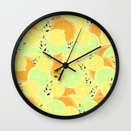 Lemon, Lime and Orange Slices Wall Clock