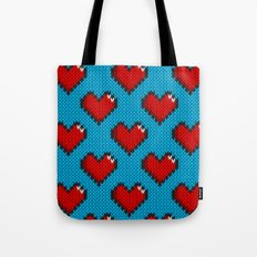 Knitted heart pattern - blue Tote Bag