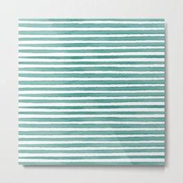 Blue Watercolor Stripes Metal Print
