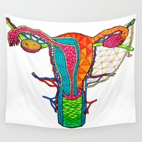 vagina Wall Tapestries featuring Ovarian by Heidi Failmezger