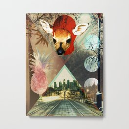 Fawn Over Pineapples Metal Print