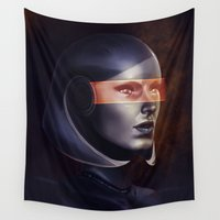 mass effect Wall Tapestries featuring Mass Effect: EDI by Ruthie Hammerschlag