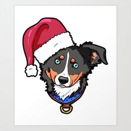 Miniature American Shepherd Dog Christmas Hat Present Art Print