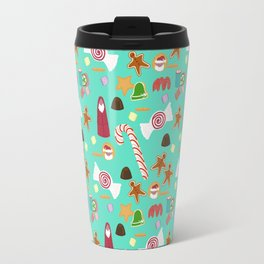 Christmas Sweeties Candies, Peppermints, Candy Canes and Chocolates on Tiffany Aqua Travel Mug