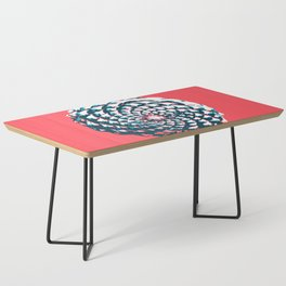 pine cone pattern in coral, aqua and indigo Coffee Table
