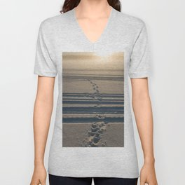 Footsteps in snow towards sunlight Unisex V-Neck
