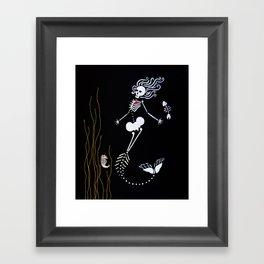 Mermaid Skeleton Framed Art Print