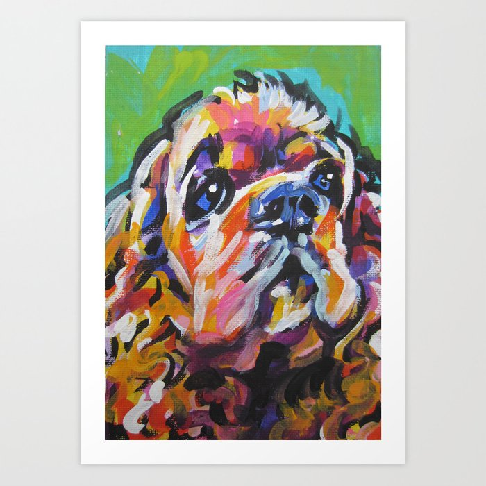 1d6c3dd3c884 fun American Cocker Spaniel bright colorful Pop Art painting by Lea Art  Print by wilddogs