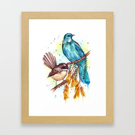 Kowhai Tui and Fantail Framed Art Print