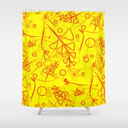 Botanical mustard pattern of olive and lemon plants and grass blades on a lemon background. Shower Curtain