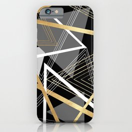 Original Gray and Gold Abstract Geometric iPhone Case