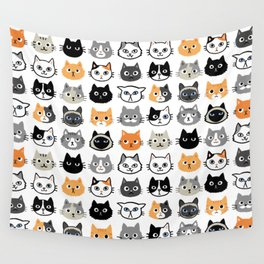 Cute Cats   Assorted Kitty Cat Faces   Fun Feline Drawings Wall Tapestry