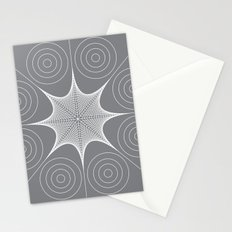 White Stretched Star with Circles Stationery Cards