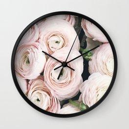 Flowers, Pastel, Plant, Pink, Minimal, Flowers decor, Interior, Wall art Art Wall Clock