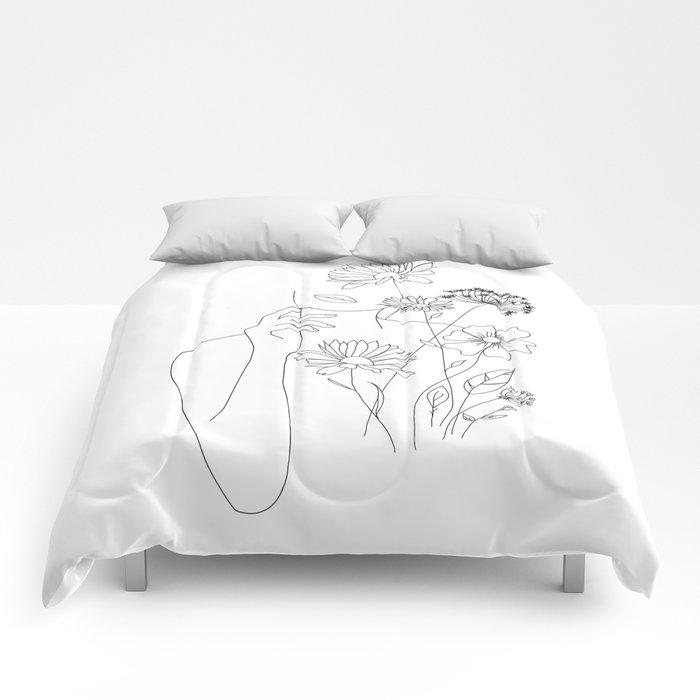 Minimal Line Art Woman with Flowers III Comforters