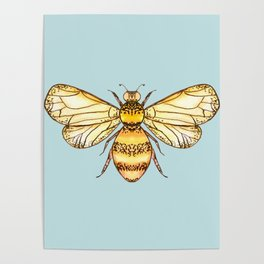 Bumblebee on Mint Poster