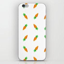 Hand painted green orange watercolor carrots pattern iPhone Skin