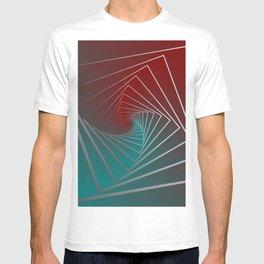 teal burgundy spin T-shirt