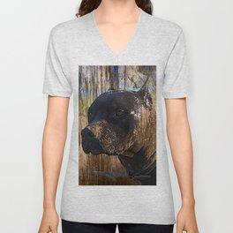 Regal Grunge Pitbull Staffordshire Terrier Face Closeup Unisex V-Neck