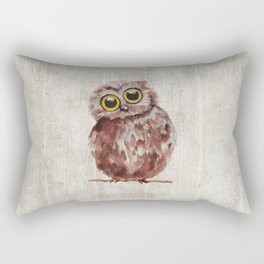 Little Owl, Owlet, Baby Animal, Baby Bird, Illustration, Animal Art Rectangular Pillow