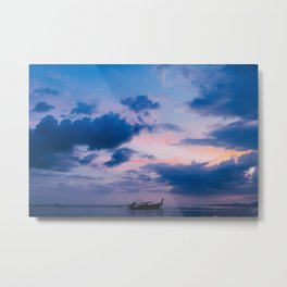 Beautiful sea sunset and long tail boat. Krabi. Thailnd. Metal Print