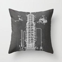 Whisky Patent - Whisky Still Art - Black Chalkboard Throw Pillow