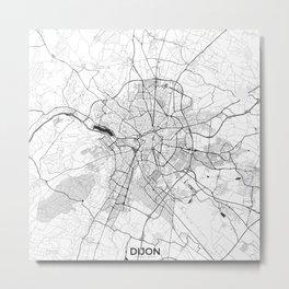 Dijon Map Gray Metal Print