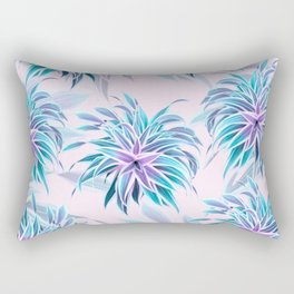 Pink & Aqua Plant Pattern on Pale Pink Rectangular Pillow