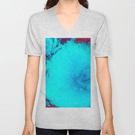 Blue and Magenta Paint (Color) Unisex V-Neck