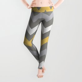 Mustard Gray White Zig Zag Pattern Leggings