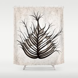 Abstract Hairy Leaf Art In Sepia Shower Curtain