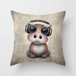 Cute Baby Hippo Dj Wearing Headphones Throw Pillow