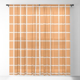 Orange Grid Pattern 2 Sheer Curtain