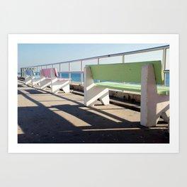 Beach Benches Art Print